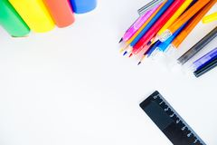 Different school objects. An image of different school objects on a table Royalty Free Stock Photo