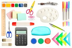 Different school supplies stock photo