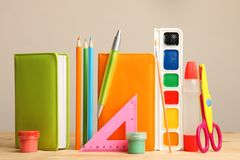 Different school supplies royalty free stock image