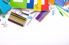 Different school supplies on white background with copy space Royalty Free Stock Photo