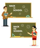 Different school teachers near blackboard in flat style Royalty Free Stock Photo