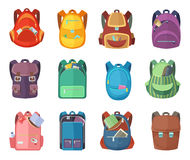 Different schoolbags in cartoon style isolate on white background. Vector education illustrations. Different schoolbags in cartoon style isolate on white Royalty Free Stock Photo