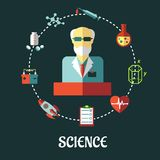 Different sciences flat concept Stock Images