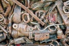 Different scrap metal. Textured metal scrap background. Details stock photography