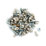 Different Screws And Bolts Isolated On White Background Royalty Free Stock Images