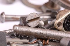 Different screws and other parts, close up Stock Photo