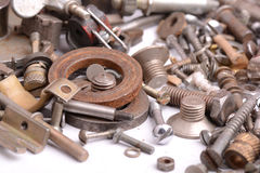 Different screws and other parts, close up Royalty Free Stock Photography