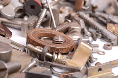 Different screws and other parts, close up Royalty Free Stock Image