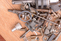 Different screws and other parts, close up Stock Photos