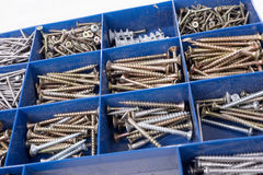 Different Screws and other Parts sorted in a box. Different Screws and other Parts sorted in a plastic box stock photos