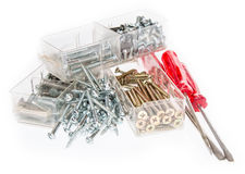 Different Screws with Screwdrivers Royalty Free Stock Photo