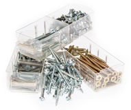 Different Screws sorted in boxes Stock Photos