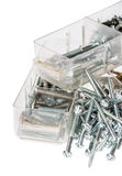 Different Screws sorted in boxes Royalty Free Stock Photos
