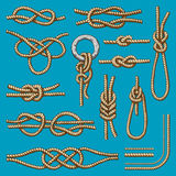 Different sea boat knots scheme vector set illustration isolated on background Stock Images