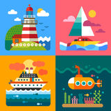 Different sea landscapes. Lighthouse, island, ships and underwater world. Vector flat  illustrations Royalty Free Stock Photo