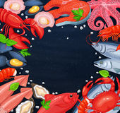 Different seafood and empty circle Royalty Free Stock Photos