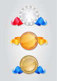 Different Seals. Three different illustrated seals. Image contains clipping path for easy cropping (shadows excluded Stock Images