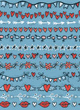 Different seamless borders with hearts, stars, lips, arrows adn flowers. Vector illustration Royalty Free Stock Photography