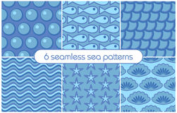 6 different seamless sea patterns (tiling). Vector illustration Stock Images