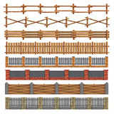 Different Seamless Wood And Brick Fences. Vector. Stock Image