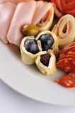 Pork meat with olive garnish Royalty Free Stock Photos