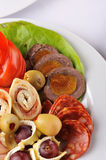 Different selection of salami and roll meat Stock Image