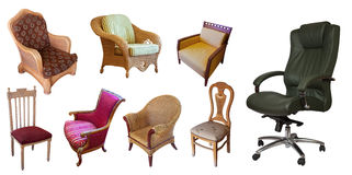 Different set of chairs. Isolated over white Royalty Free Stock Photo