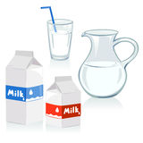 Different set of containers for milk Stock Photos