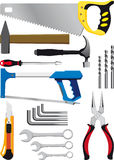 Different set of hand tools. Isolated on white vector illustration