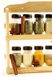 Different set of spices in glass jars Royalty Free Stock Images