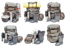 Different sets of camping equipment isolated Royalty Free Stock Image