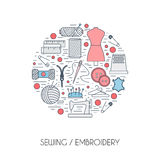 Different sewing elements arranged in a circle Royalty Free Stock Images