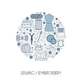 Different sewing elements arranged in a circle Stock Photography