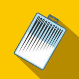 Different sewing needles in a box flat icon Royalty Free Stock Photo