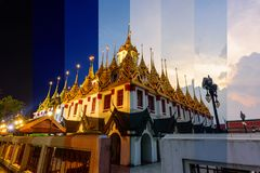 Different shade color of Golden pagoda Royalty Free Stock Images
