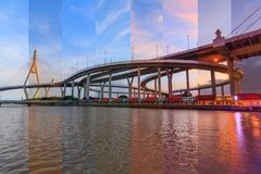 Different shade color in same frame Beautiful Big Bhumibol Bridge. /Big expressway bridge at the river in sunset time Royalty Free Stock Images