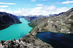 Different shades of blue lakes. During hike in Norway National park Jotunheimen Royalty Free Stock Image
