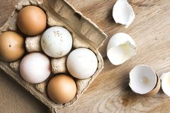 Different shades of farm fresh eggs on wood stock image