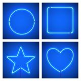 Different shape blue neon frames. Vector realistic neon star, square, circle and heart on blue background. Royalty Free Stock Photo