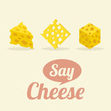 Different Shape of Cheeses Stock Photos