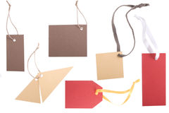 Different shape, empty tag on white background Stock Image