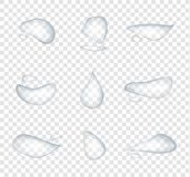 Different shape of realistic water drops vector isolated on transparent background, Glass bubble drop condensation surface, elemen vector illustration