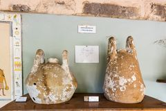 Different shape and size of amphoras. In Castle of St. Peter or Bodrum Castle, Turkey stock photos