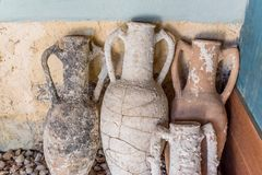 Different shape and size of amphoras. In Castle of St. Peter or Bodrum Castle, Turkey.Collection of amphoras from different parts of the Mediterranean stock image