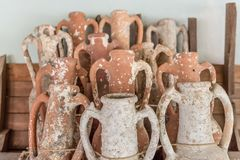 Different shape and size of amphoras. In Castle of St. Peter or Bodrum Castle, Turkey.Collection of amphoras from different parts of the Mediterranean royalty free stock image