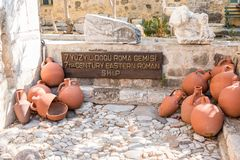 Different shape and size of amphoras. In Castle of St. Peter or Bodrum Castle, Turkey royalty free stock images
