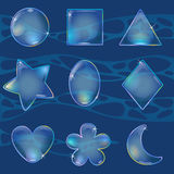 Different shaped bubbles in water stock illustration