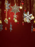 Different shaped glittery christmas decorations Stock Photography