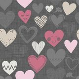 Different shaped hearts on dark seamless pattern Stock Image