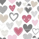 Different shaped hearts on white lovely seamless p Royalty Free Stock Images